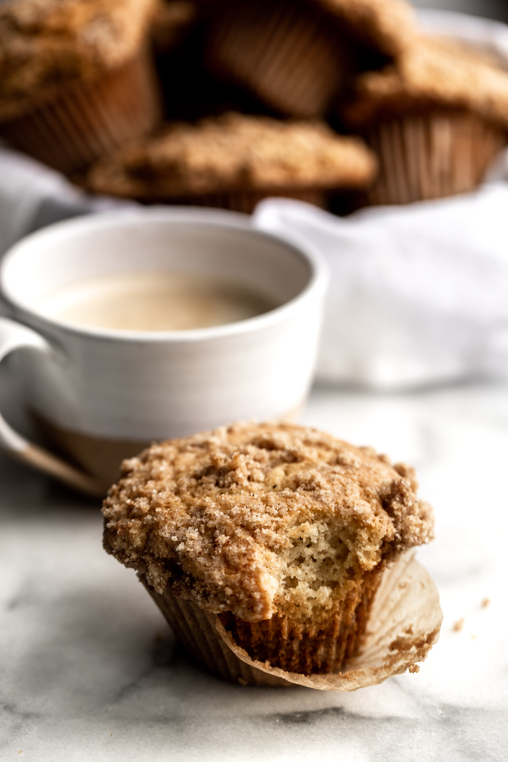 This coffee cake muffin recipe is made with streusel topping with the addition of sour cream to keep the muffins moist.