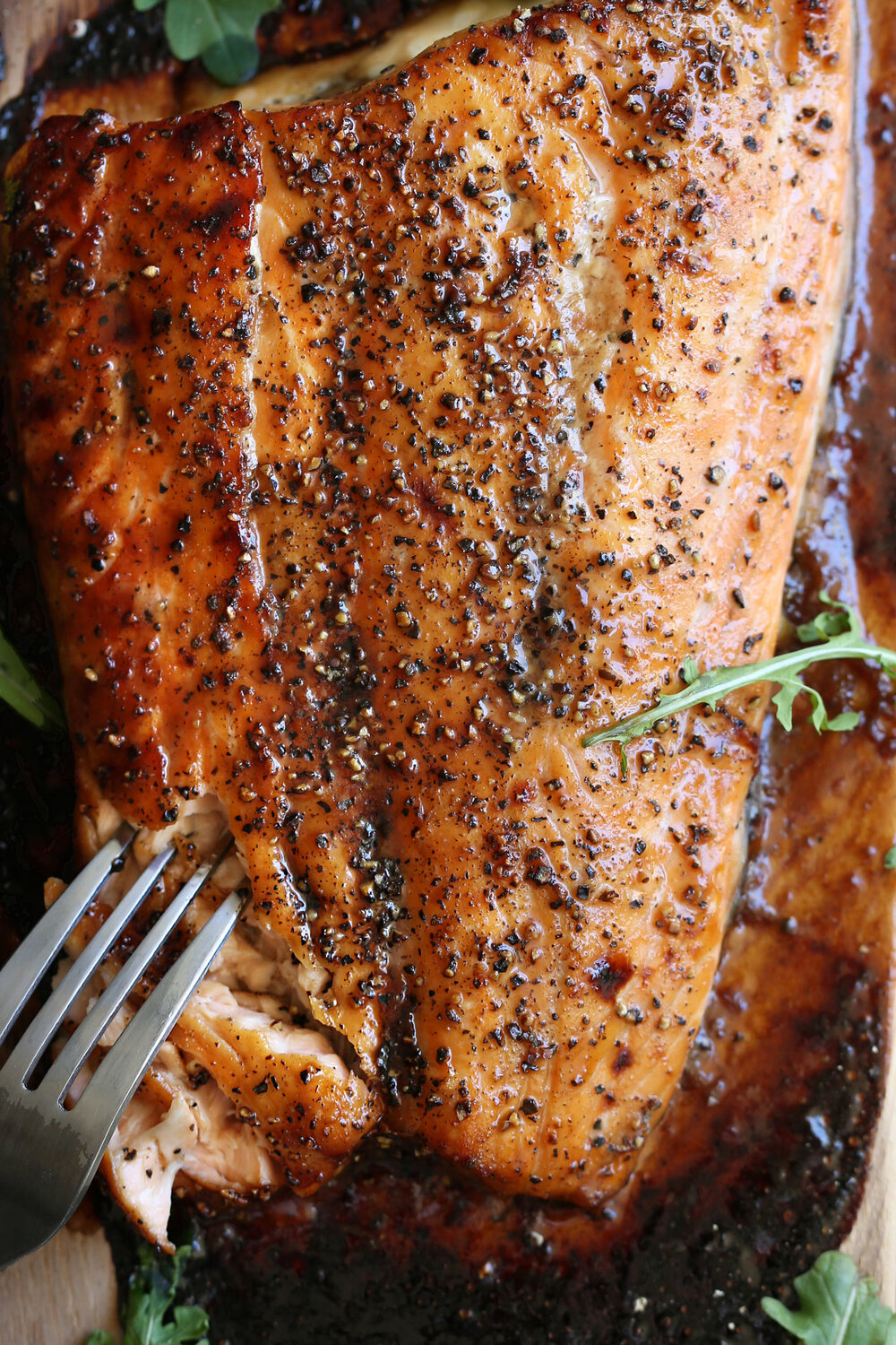 - Cedar Plank Salmon with Brown Sugar & Black Pepper- This flexible recipe can be made on the grill or in the oven – be sure to roast your salmon just until it's cooked through but still a deeper pink inside. I usually roast mine at 400º for about 16 minutes and serve with a variety of toppings.