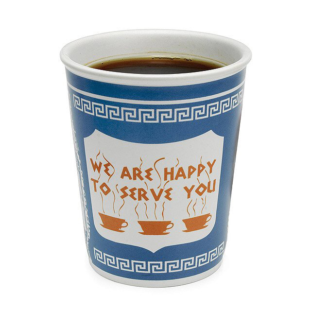 Happy to Serve You Ceramic Mug Based on the iconic New York coffee cart paper cup, I take my morning cappuccino in this.