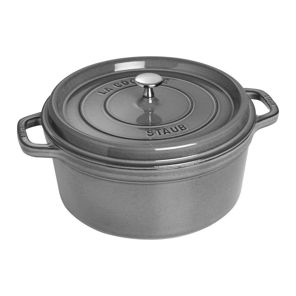Staub Dutch Round Cocotte Dutch Oven Not only is this one of my most used kitchen items for braises and soups, it is also a beautiful piece to display on the counter.
