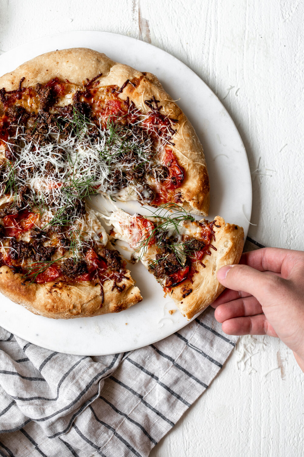 Lamb Sausage Pizza with Confit Tomatoes & Fennel