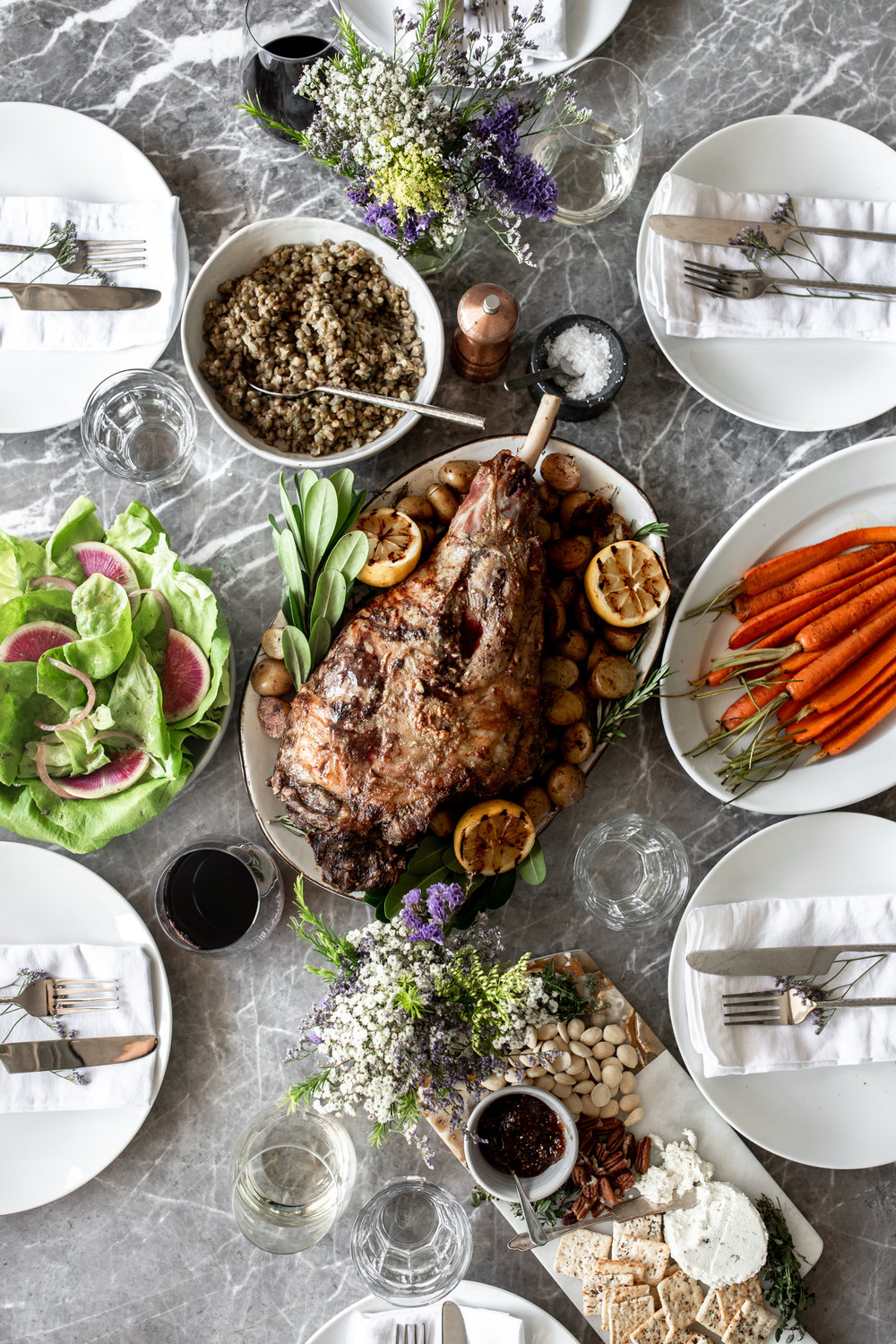 Anchovy-Garlic Butter Rubbed Whole Roasted Lamb Leg with Potatoes