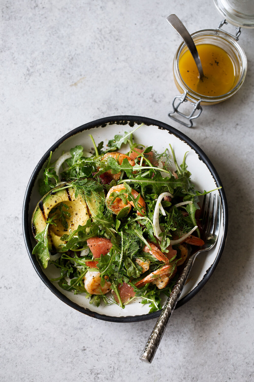 Grilled Avocado & Shrimp Salad with Winter Citrus Salad