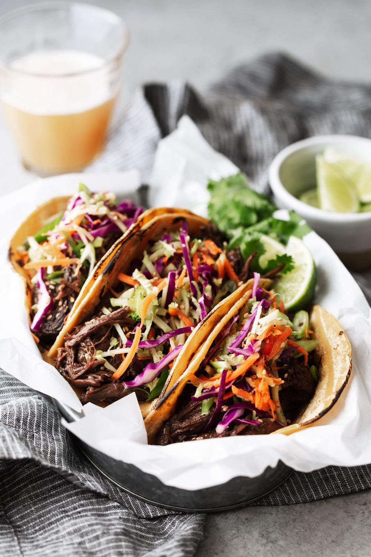 Braised Korean BBQ Beef Tacos