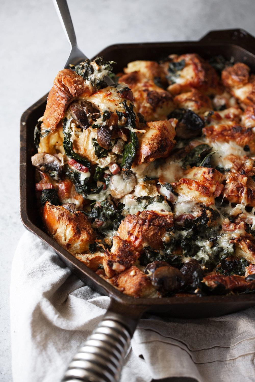 Cheesy Mushroom and Kale Strata with Brioche