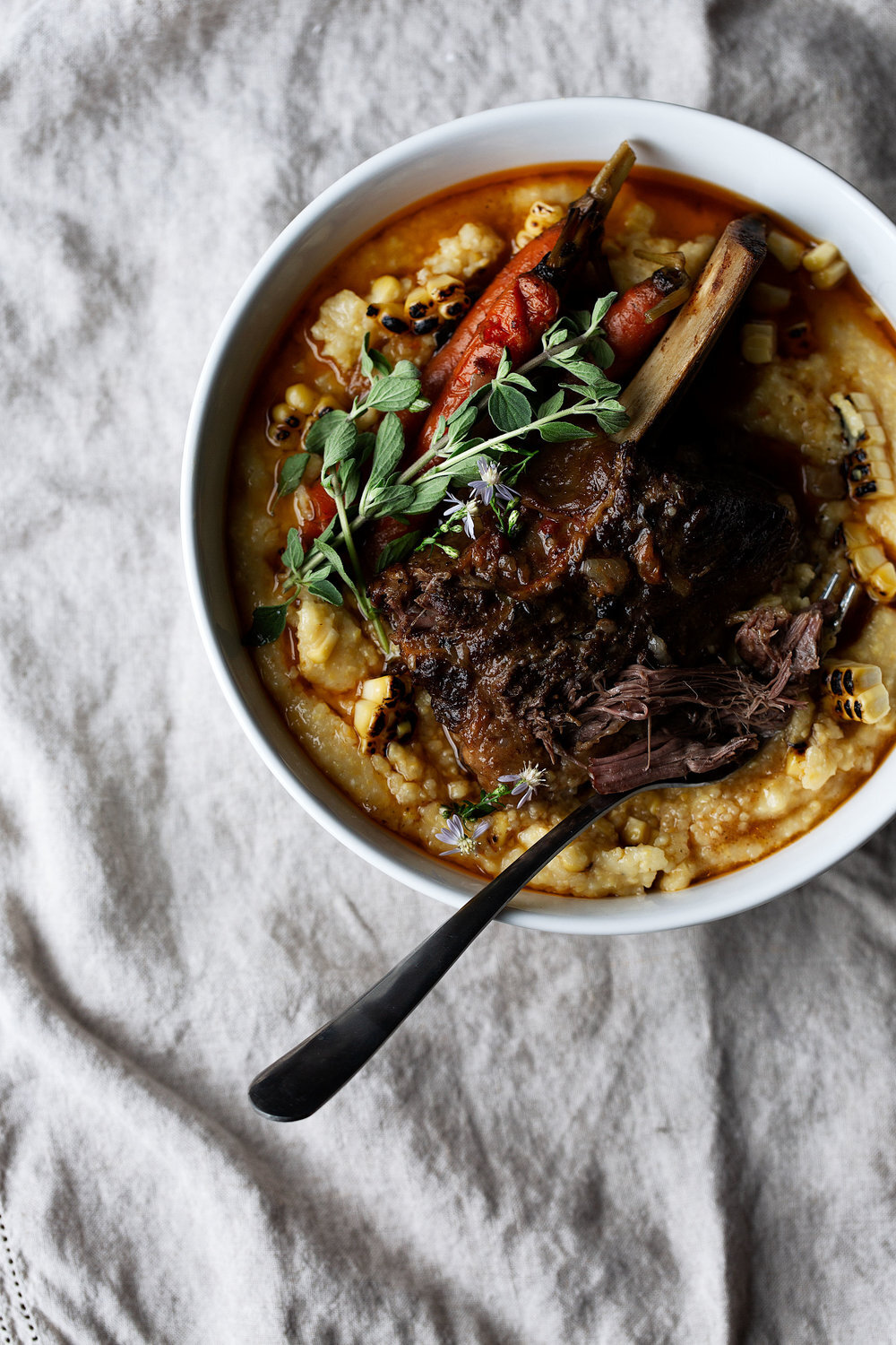 Citrus Chili Braised Short Ribs with Carrots and Charred Corn Polenta