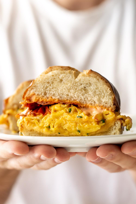 Egg, Cheese & Crispy Prosciutto Breakfast Sandwich on a Pretzel Bun-21.jpg
