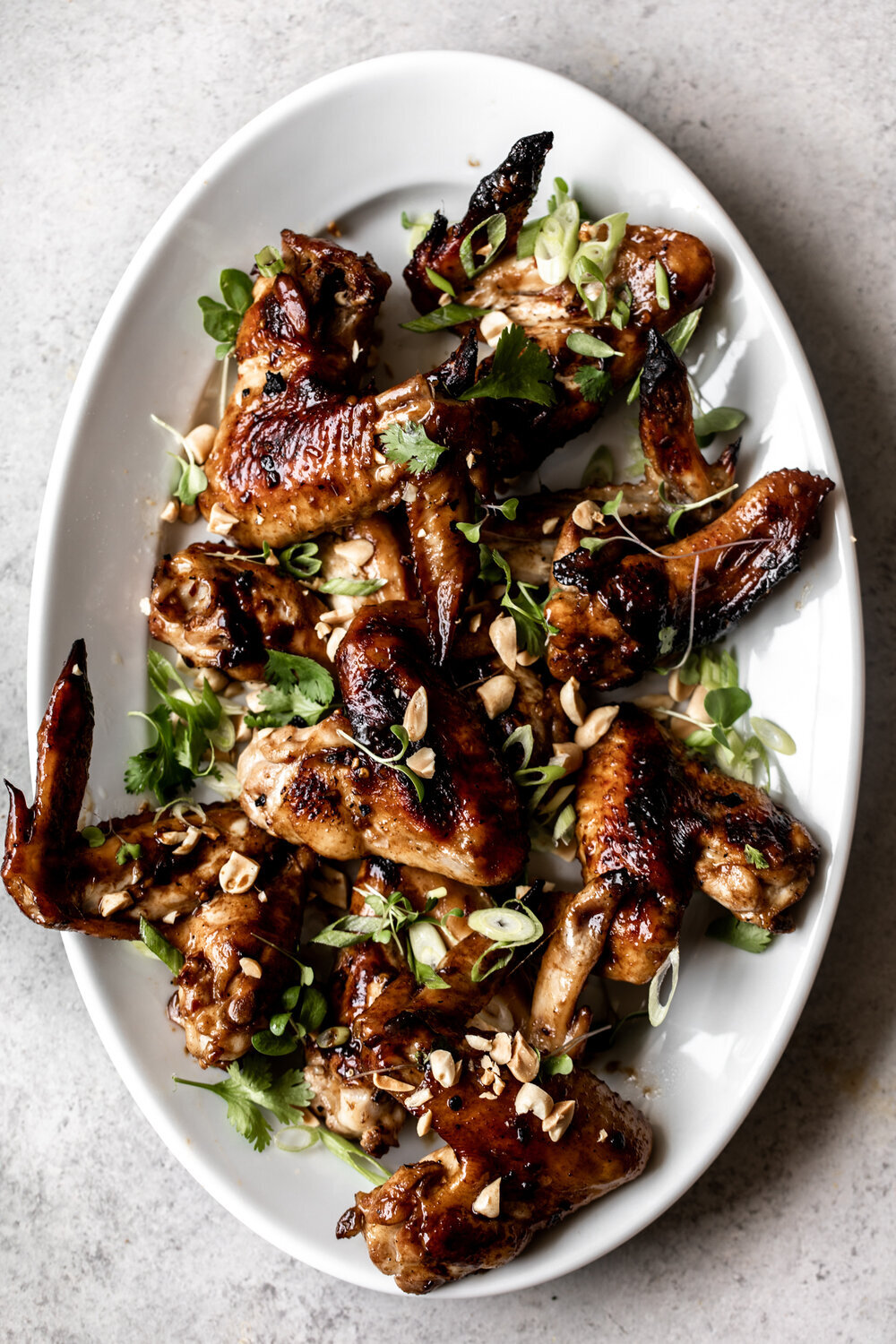 Garlic Soy Chicken Wings with Herbs and Peanuts