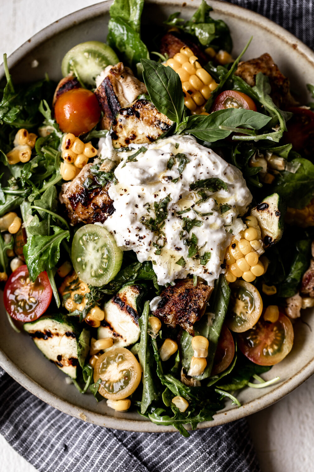 Heirloom Tomato and Grilled Veggie Salad with Burrata and Basil Vinaigrette
