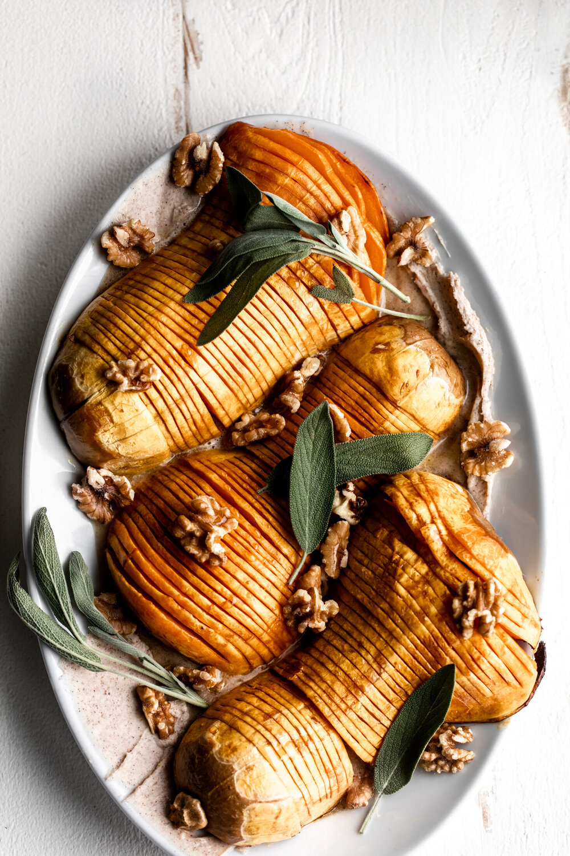 Honey Glazed Hasselback Butternut Squash with Cinnamon Mascarpone Spread
