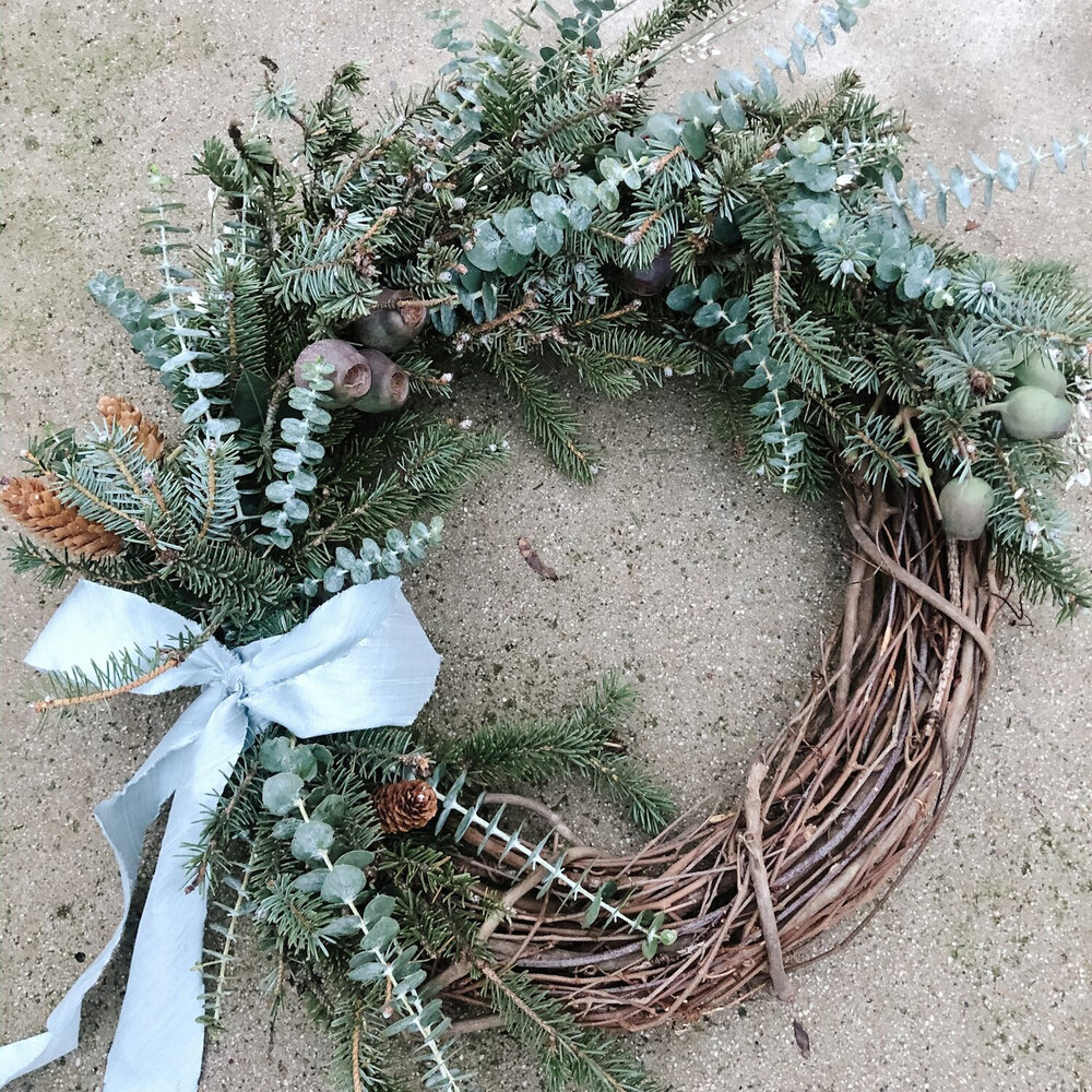 Chelsea Carter Handmade Wreath Just because we're staying in this year doesn't mean you shouldn't decorate! My friend Chelsea (she did the florals for my wedding ) usually hosts a wreath making class but this year I bought mine online! Use code WREATHSEASON for $25 off! Order your holiday wreaths by December 11.