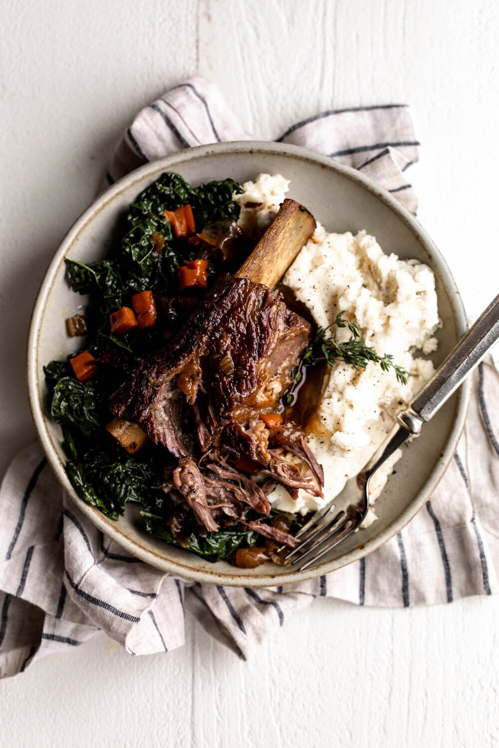 Maple Bourbon Braised Short Ribs with Caramelized Shallot and Black Pepper Mashed Potatoes