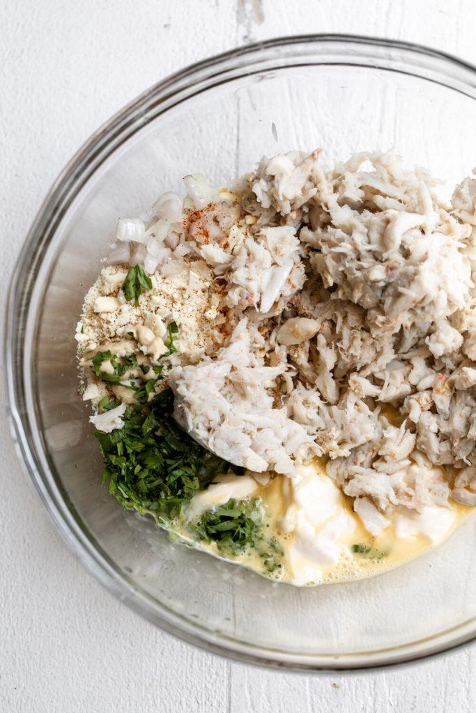 crab cake ingredients in mixing bowl