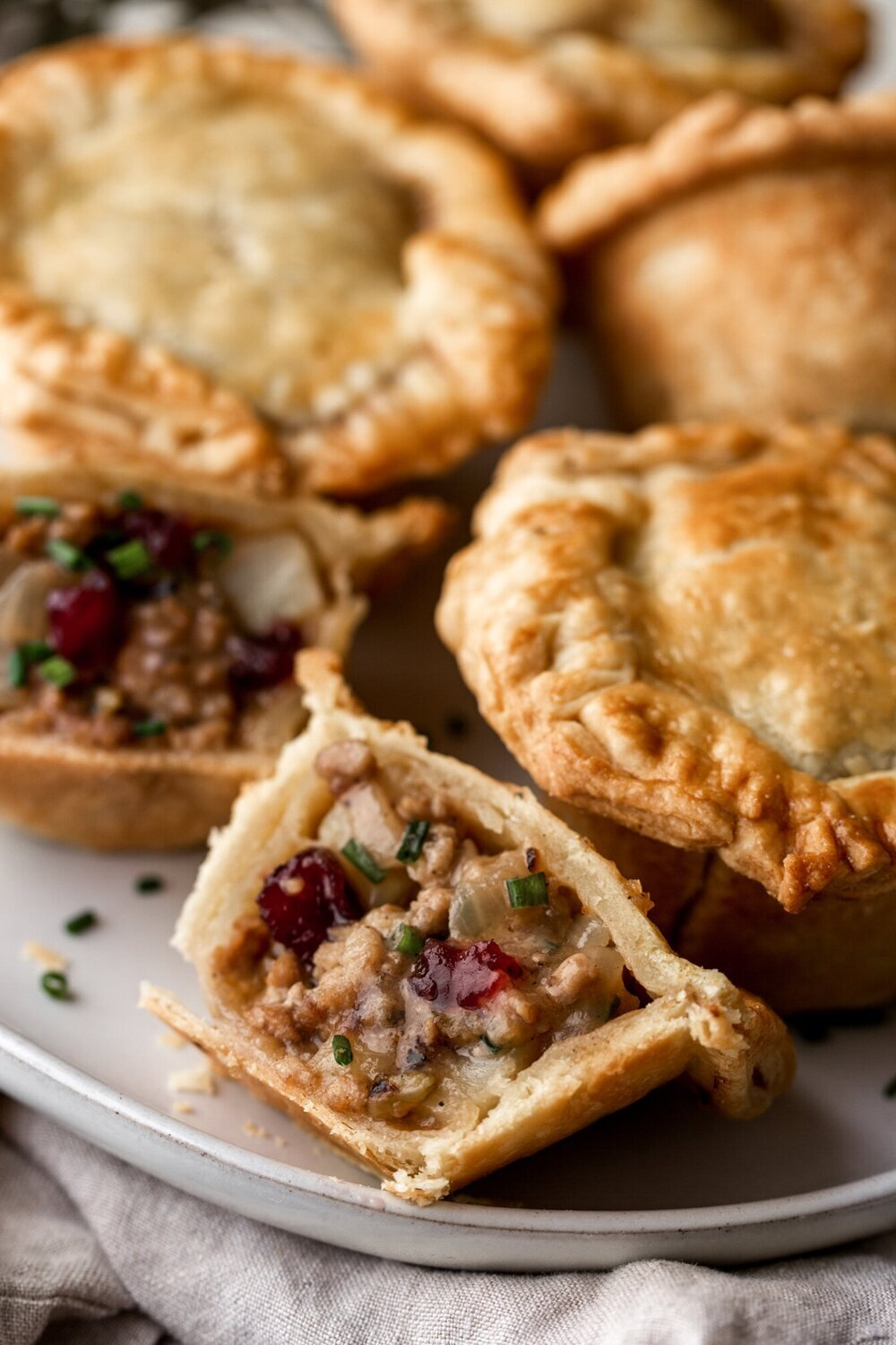 Mini Thanksgiving Turkey & Cranberry Pot Pies If using leftovers, simply swap out the ground turkey for chopped turkey meat.