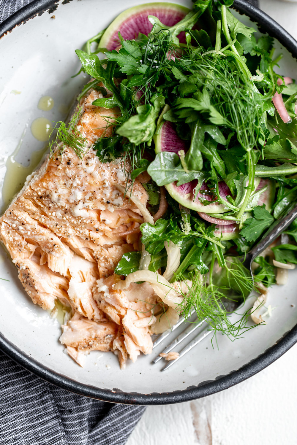 Olive Oil Slow-Poached Salmon with Fennel and Lemon Arugula Herb Salad