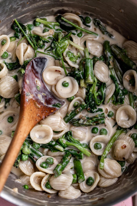 Pasta with Gorgonzola, Asparagus & Pea Shoots-2.jpg