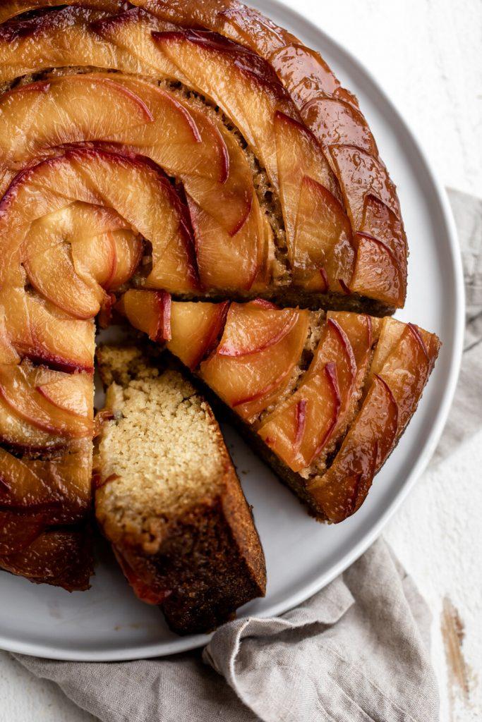 Peach Cornbread Upside-down Cake