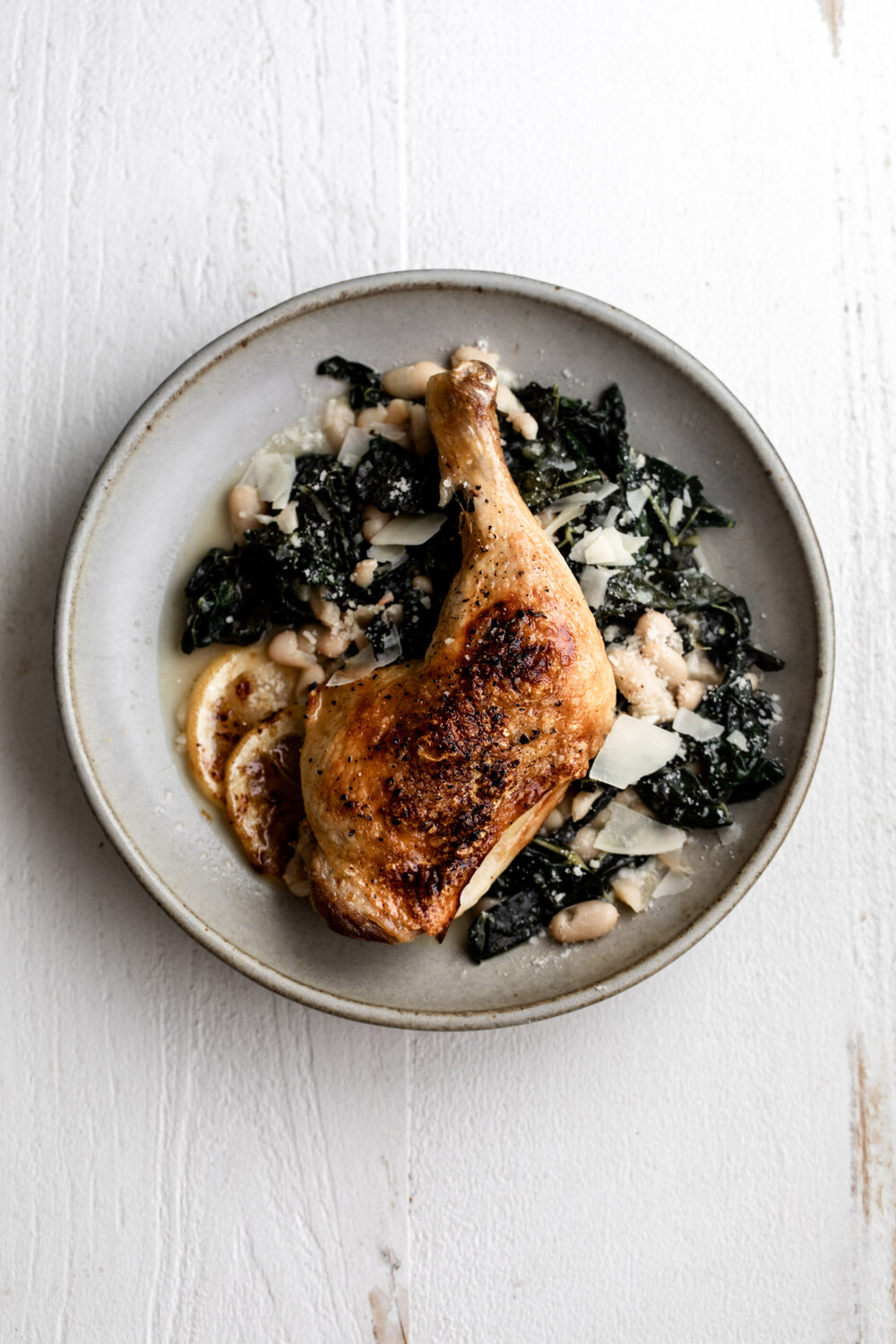 Roast Chicken Legs with Braised Kale and White Beans