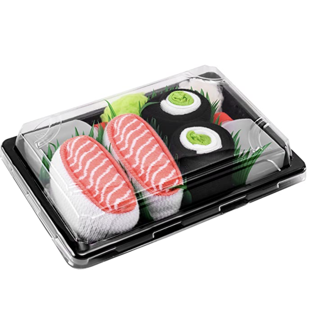 Sushi Socks Sets of socks wrapped and packaged like sushi for a fun yet practical gift.
