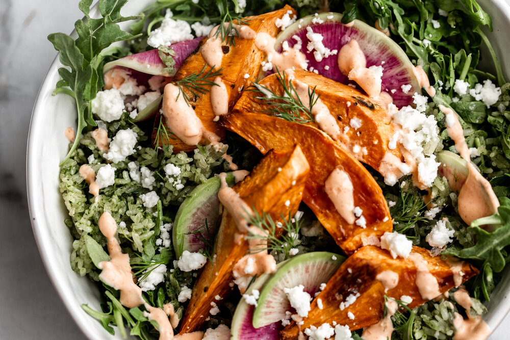 Spicy Green Herbed Crispy Rice Sweet Potato Bowl with Spicy Yogurt-33.jpg