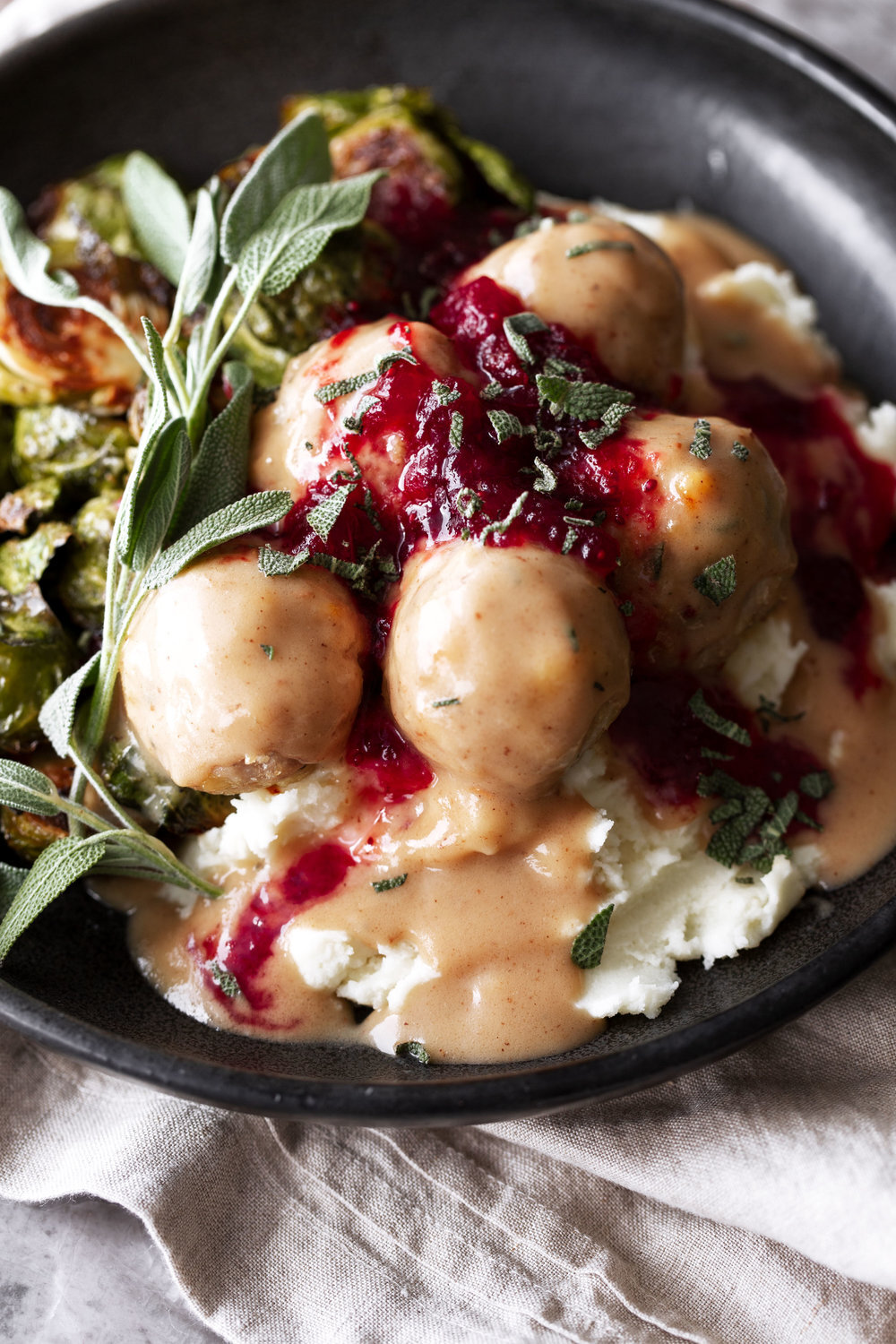Thanksgiving Turkey Meatballs with Gravy and Red Wine Cranberry Sauce