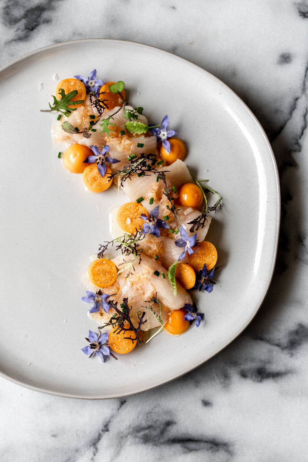 Yellowtail Crudo with Mandarin and Gooseberries