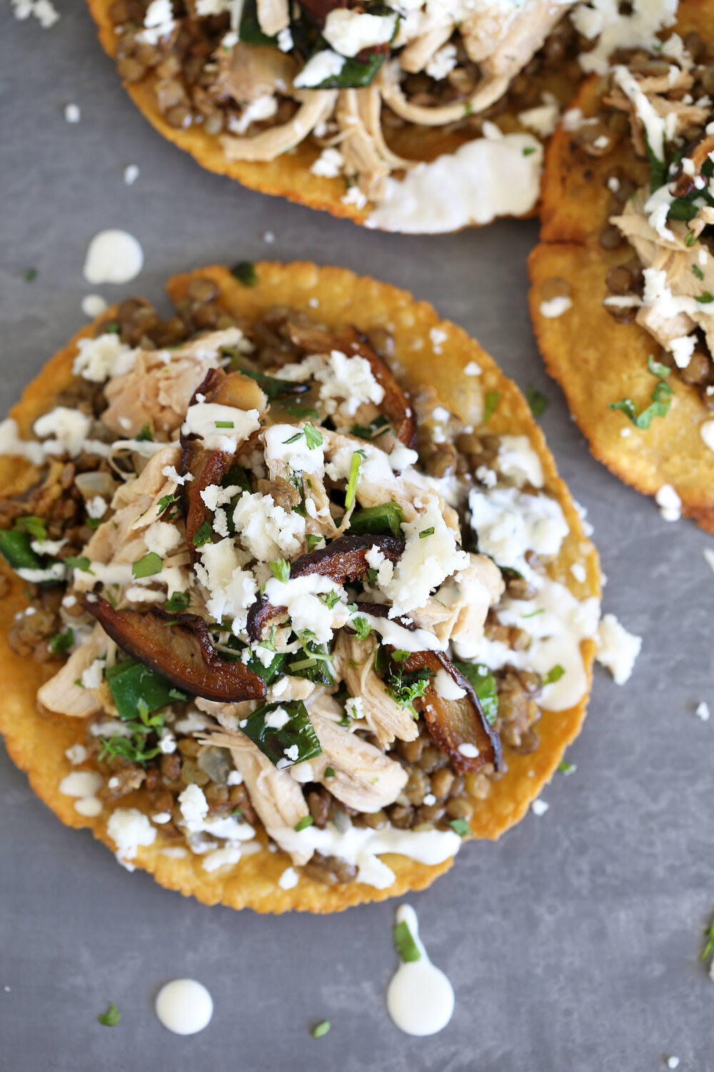 Cilantro Lime Braised Chicken Tostada with Refried Lentils