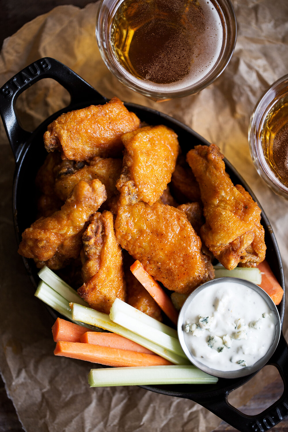 Classic Buffalo Wings with Homemade Buttermilk Blue Cheese Sauce