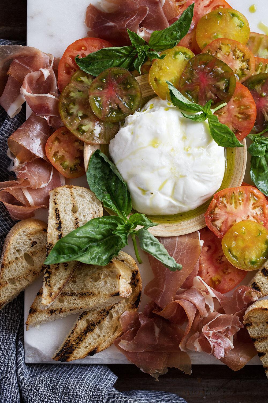 Heirloom Tomato, Prosciutto & Burrata with Garlic-Basil Oil & Grilled Bread