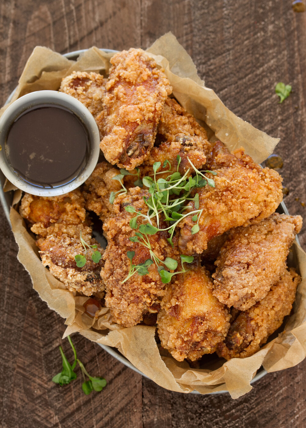 Fried Chicken and Waffle Wings with Bourbon Maple Syrup
