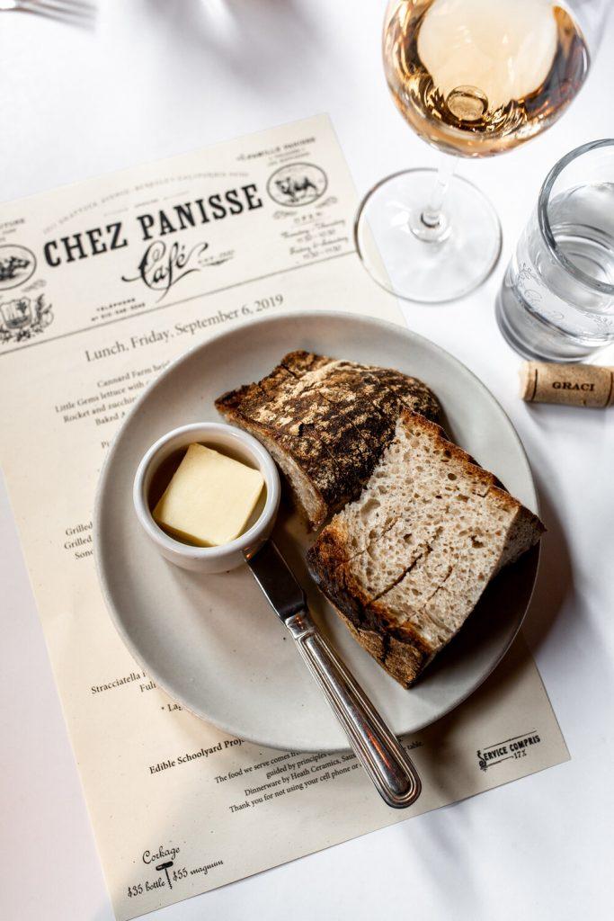 bread basked on menu from cafe chez panisse Berkeley, California