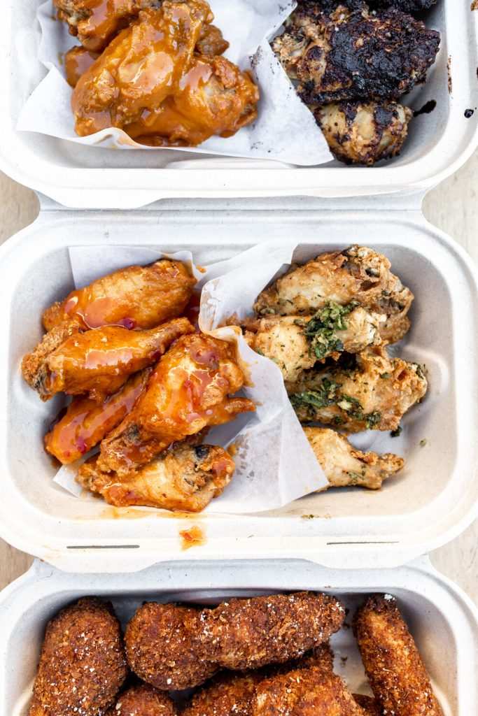 wings with different sauces from hot sauce and panko