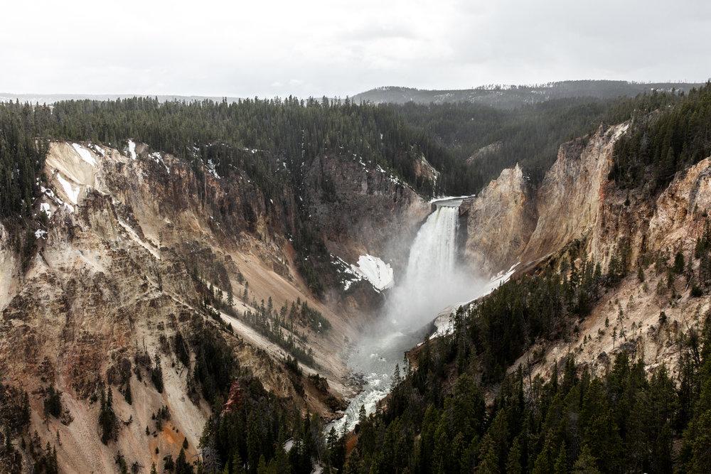 Yellowstone national park Montana waterfall