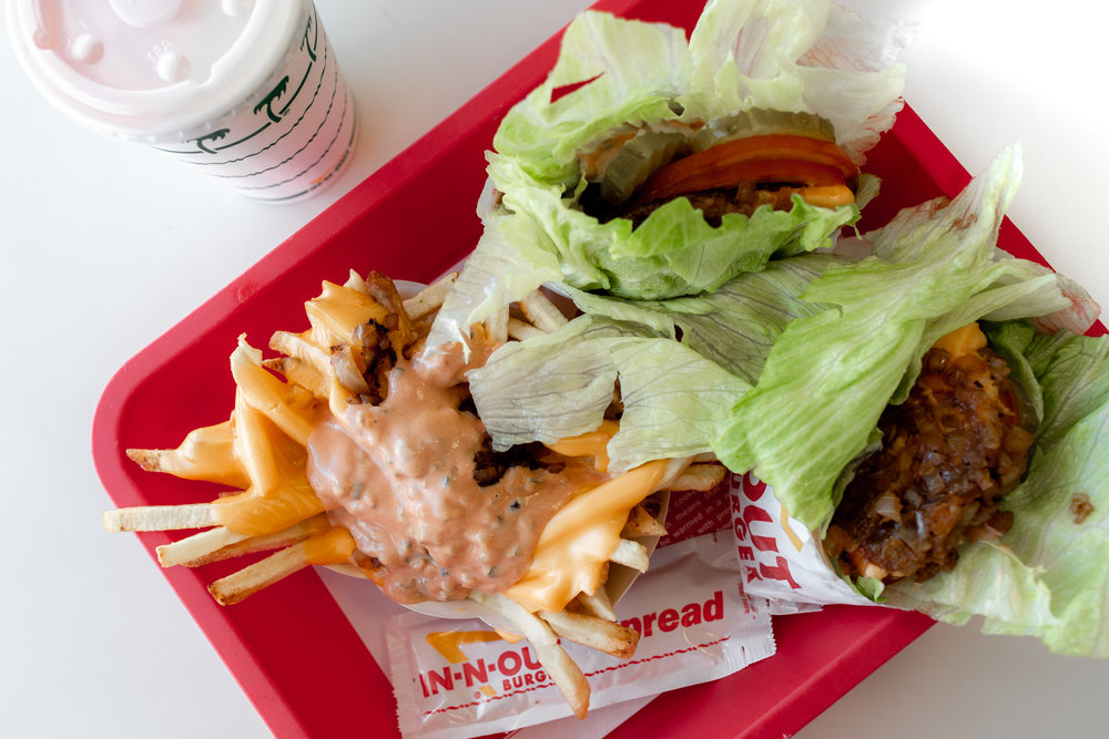 in n out protein-style animal-style cheeseburgers