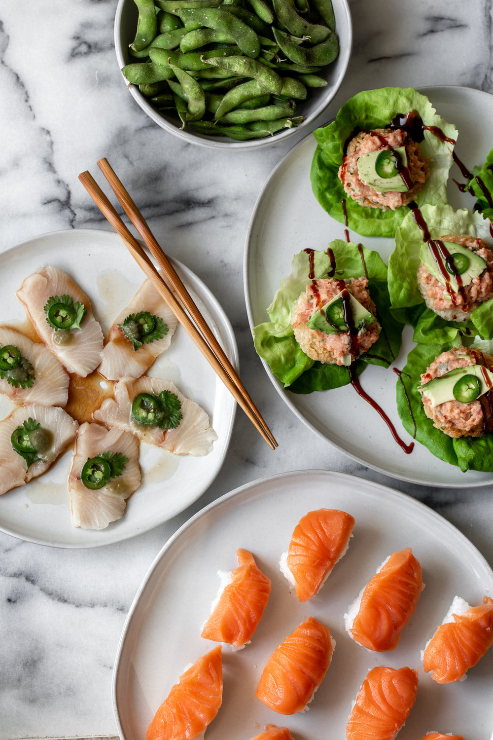 Valentine's Day 2019 Nobu at Homefrom Cooking with Cocktail Rings spread