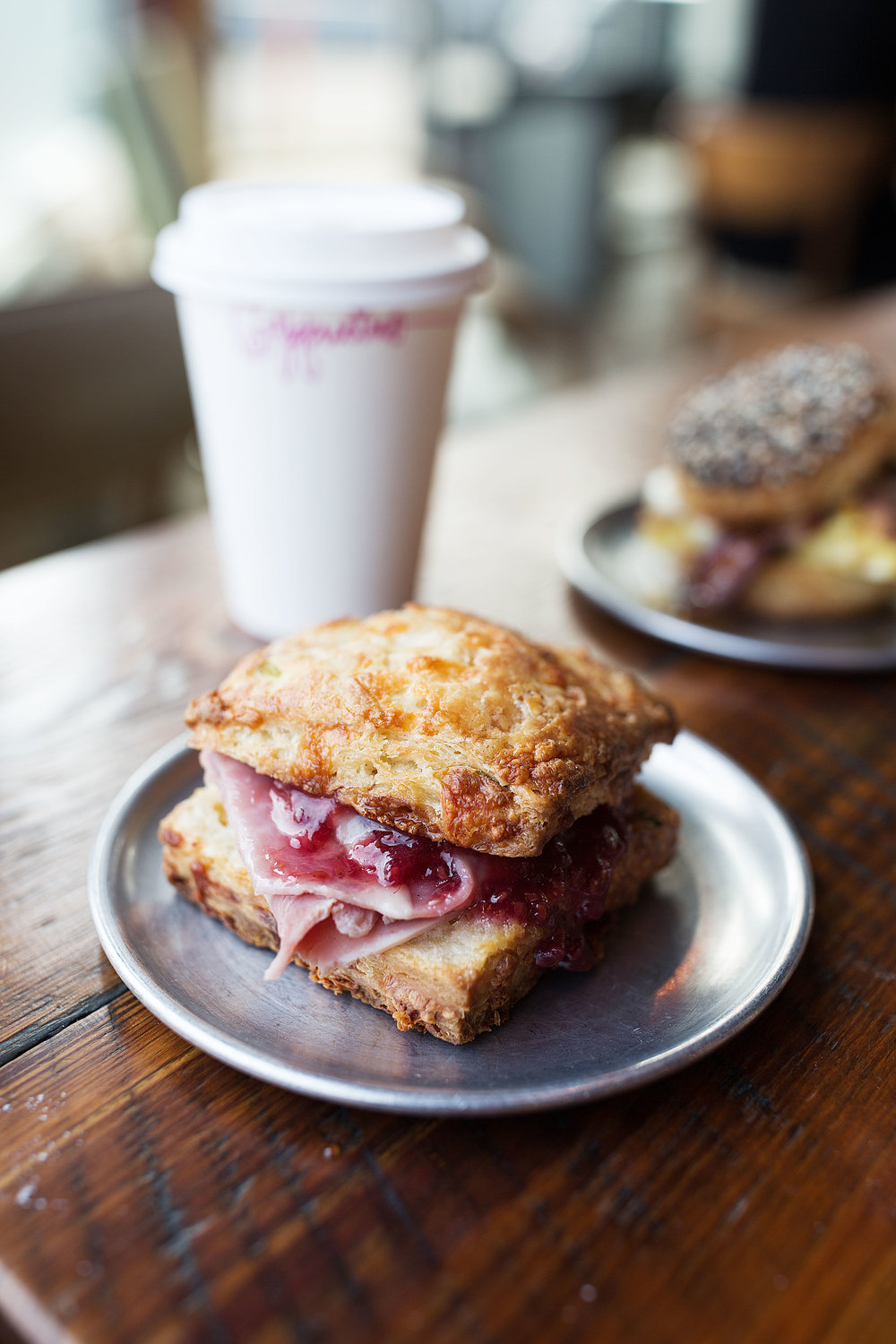biscuit with gryuere ham and raspberry jam