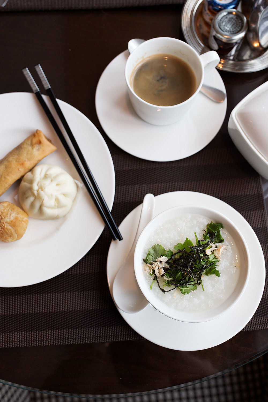 shanghai four seasons pudong breakfast congee and dim sum