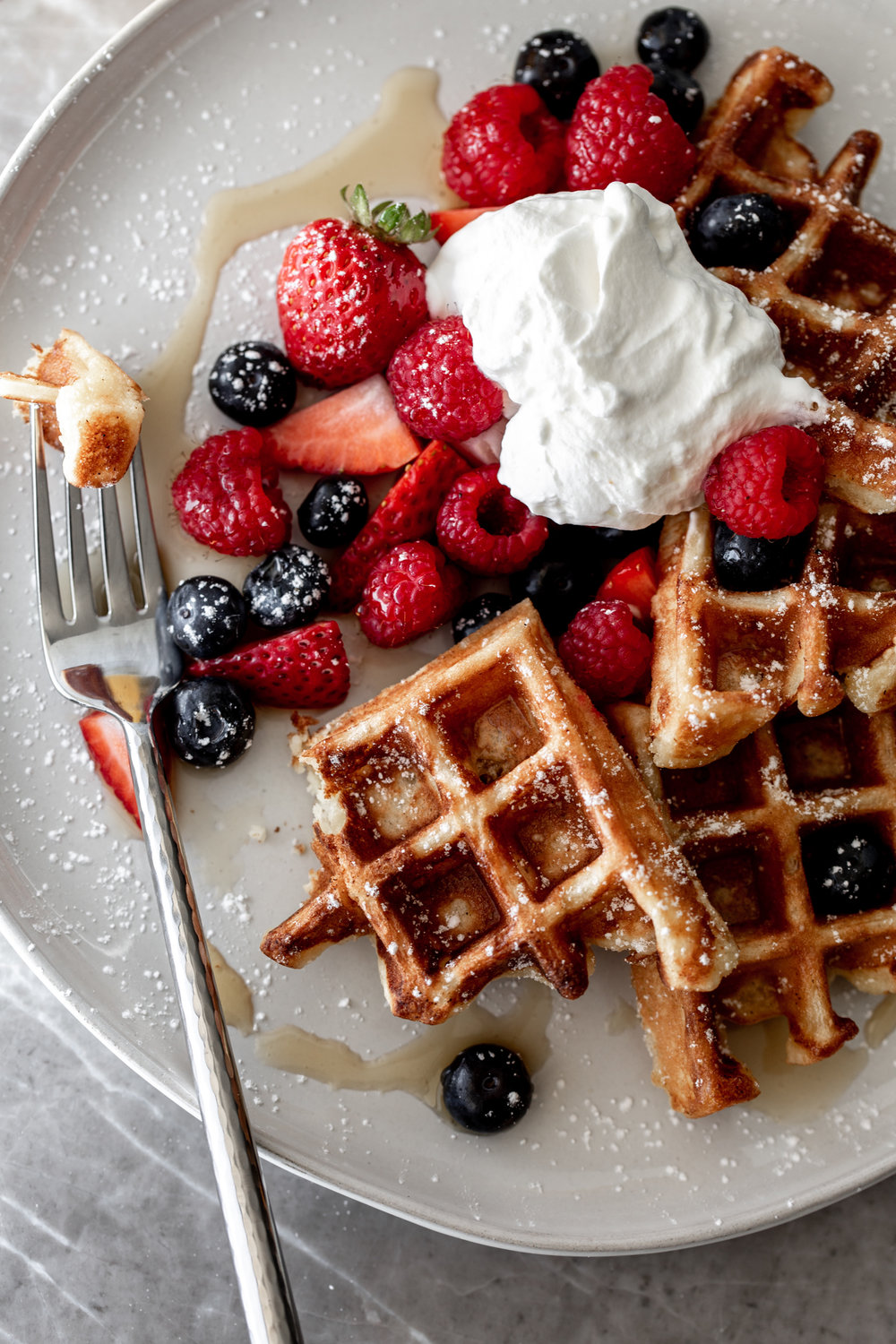 yeasty overnight waffles on fork recipe from cooking with cocktail rings
