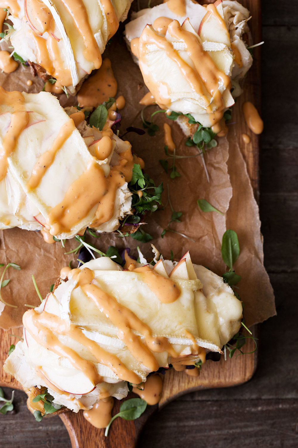 Turkey-Apple-Brie Open-face Sandwich recipe from cooking with cocktail rings