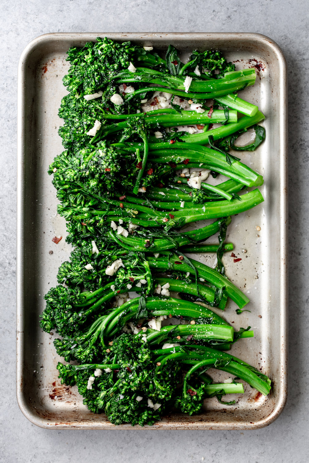 broccolini with garlic and red wine vinegar from cooking with cocktail rings broil