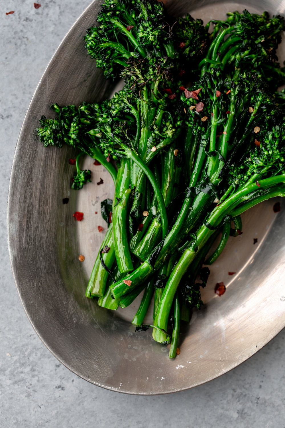 broccolini with garlic and red wine vinegar from cooking with cocktail rings closeup