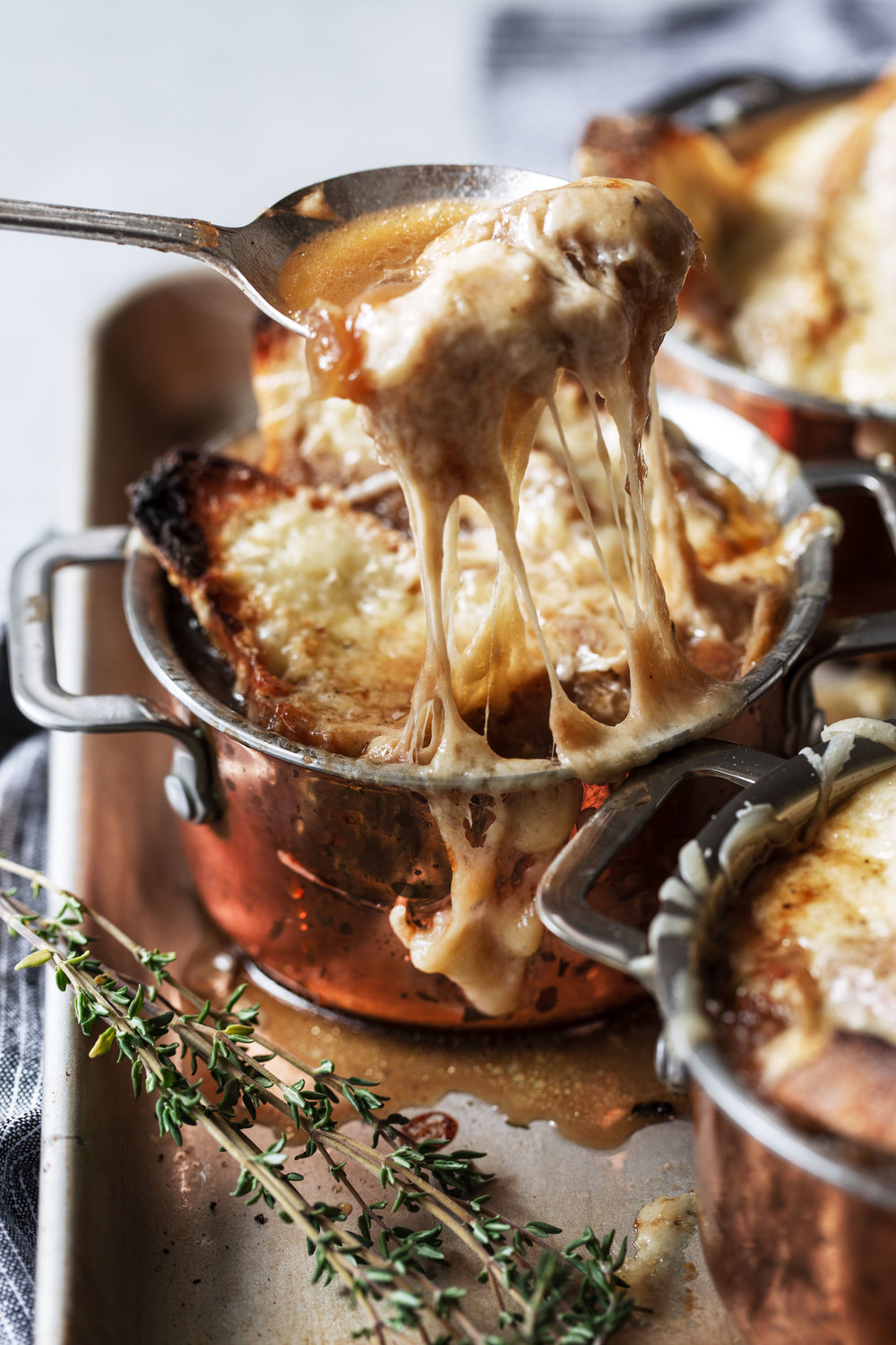 French Onion Soup recipe from cooking with cocktail rings cheese pull