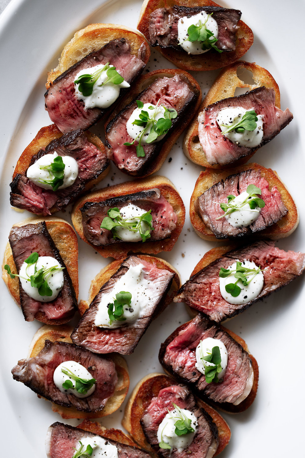 grilled ribeye steak and boursin cheese crostini recipe from cooking with cocktail rings food closeup