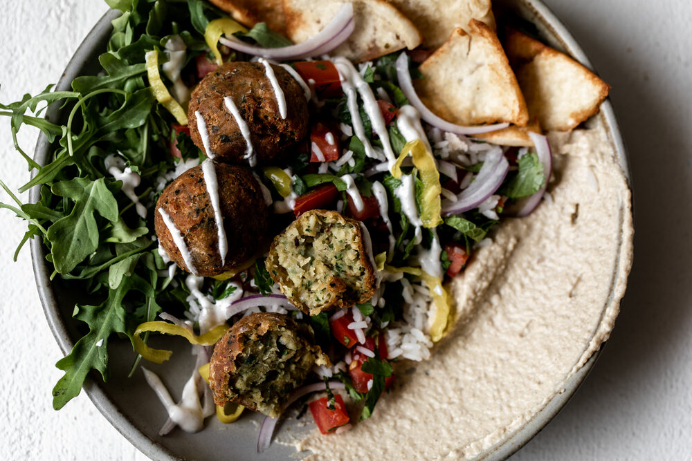 """Middle Eastern-inspired Falafel Bowl with """"Tabbouleh"""" Rice"""