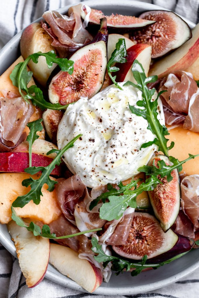 Summer Fruit Salad with Burrata and Prosciutto