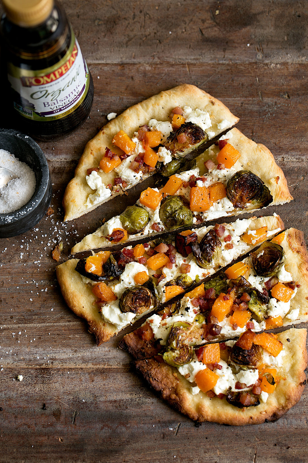 Roasted Butternut Squash & Balsamic Brussels Sprout Flatbread Pizza sponsored