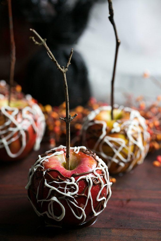 Sea Salt Bourbon Caramel Apples with Spider Web Chocolate