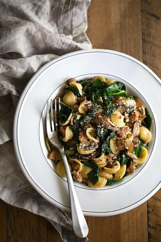 Orecchiette with Collard Greens & Mixed Mushrooms seasonal pasta