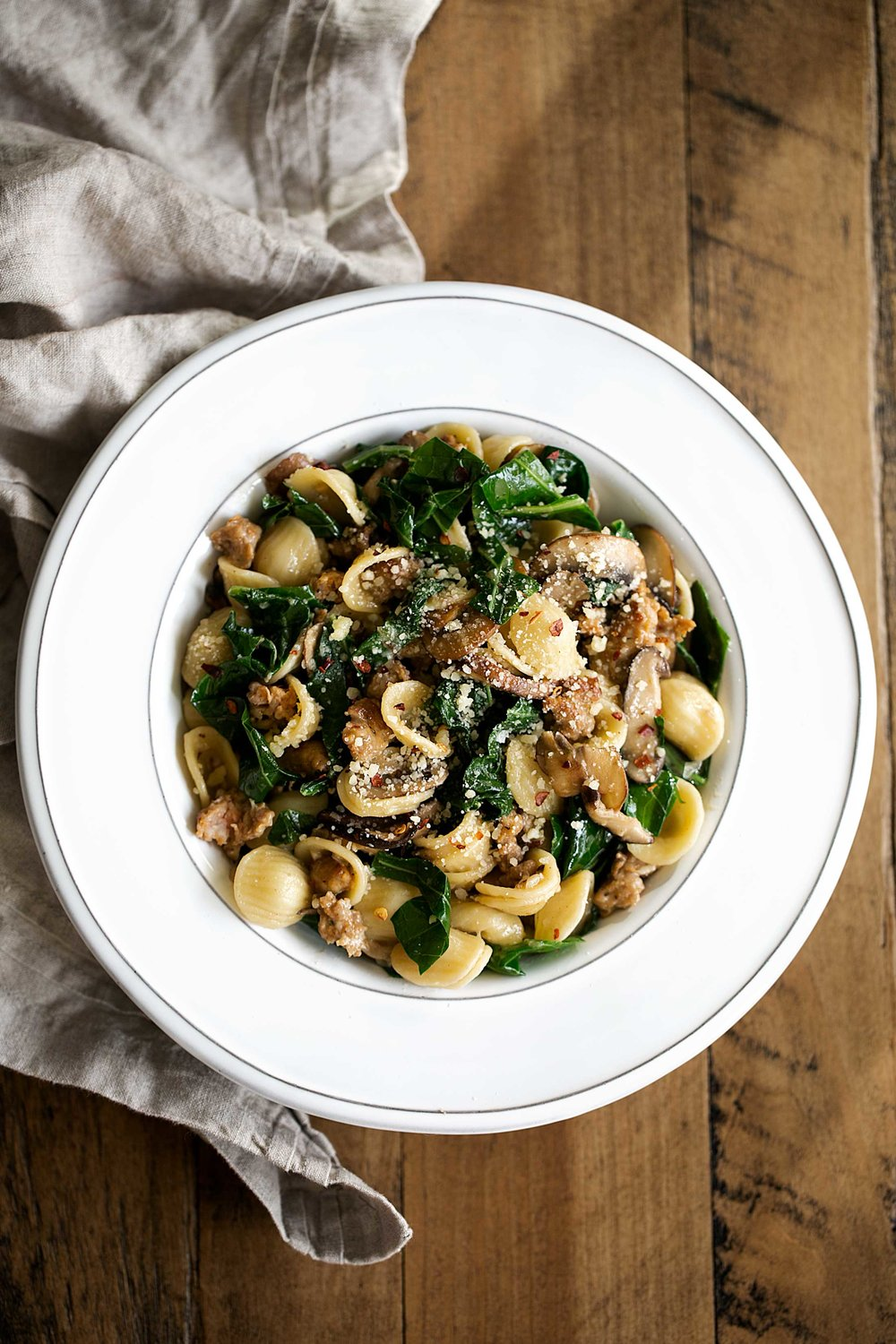 Orecchiette with sausage Collard Greens and Mixed Mushrooms