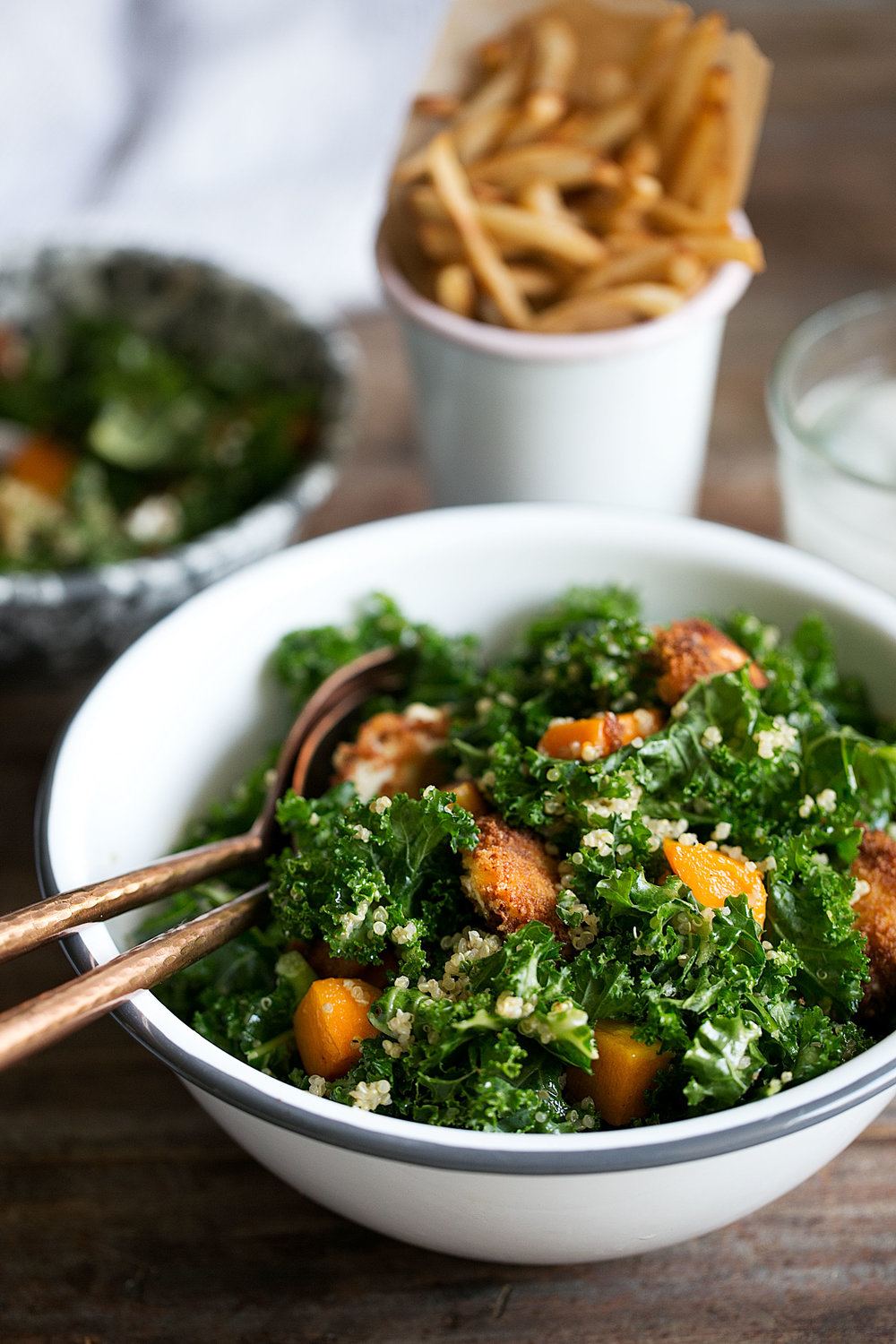 Butternut Squash, Quinoa & Kale Salad with Warm Goat Cheese and Apple Cider Vinaigrette